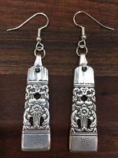 """Antique Vintage Spoon Community  Coronation """"W""""Earrings Silverware Plate Jewelry"""