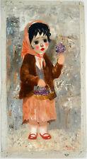 "Santini Poncini ""La Violetera"" Oil on Canvas 31""x 15.5"" signed: Poncini Paris"