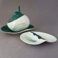 Retro Carlton Ware Australian Design Windswept Condiment Pot w Spoon & Rest :D3