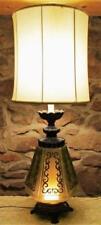 Vintage Art Deco Green & Black Glass Geometric Design Electric Table Lamp Retro