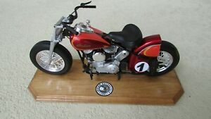 1948 Indian custom race motorcycle V twin 1:6 scale & labeled wood display stand