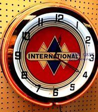 "18"" International Truck IH Sign Double Neon Clock"