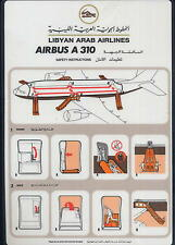 LIBYAN ARAB AIRLINE brochure mint SAFETY CARD A310 no book sc676 ax