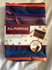 All-Purpose Wet/Dry Bag Pouch Touchscreen Comp Multi Stripe Pattern NEW