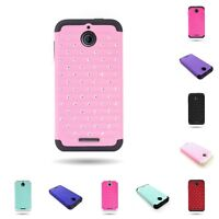 Dual Layer Heay Duty Hybrid Diamond Studded Bling Cover Case for HTC Desire 510