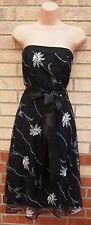 FLORENCE FRED BLACK TUTU SLIP FLORAL WHITE EMBROIDERED SKATER BELTED DRESS 8 S