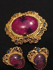 VINTAGE 1940'S FABULOUS BROOCH AND EARRING SET!
