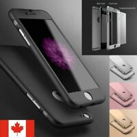For iPhone 7 8 Plus X Case - Shockproof 360 Bumper Cover + Tempered Glass
