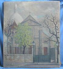 Huile sur Toile de la Butte Montmartre & Église Saint-Pierre / Le Chevalier 1942