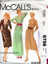 1970s McCall's Sewing Pattern 2249 Singer & Spicer Pullover Dress Shawl Collar