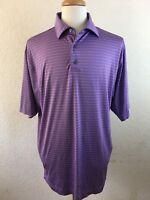 Footjoy Purple Polo Shirt Mens Size L Striped Small Stain See Pics Dri Fit