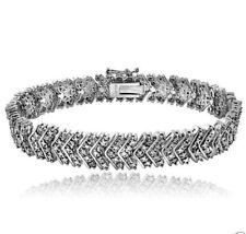 1.01 CTS DIAMOND TENNIS BRACELET CHEVRON 14KT WHITE GOLD FINISH 925 SILVER