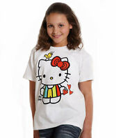 GIRLS TSHIRTS HELLO KITTY TOP WHITE SHORT SLEEVED AGE 7 - 12 NEW