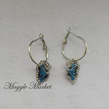 Small Silver enamal butterfly earrings hook drop/dangle