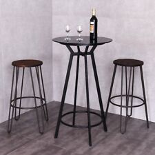 Kitchen Dining Room Glass Top Metal Frameed Round Bar Table Bistro Pub Counter