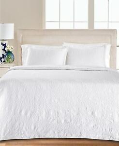 Martha Stewart Collection Floral Matelasse Cotton King Bedspread White $340
