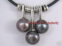 Women's Freshwater Pearl pendant necklace on black leather cord