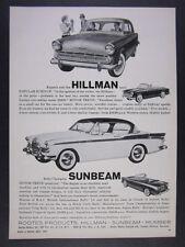 1959 Sunbeam Rapier Coupe Convertible Hillman Sedan Rootes vintage print Ad