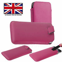 Pink Leather Slim Pull Tab Phone Cover Pocket Pouch For Sharp Aquos V