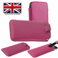 Pink Leather Slim Pull Tab Phone Cover Pocket Pouch For Samsung Galaxy M10