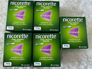 5x Nicorette Inhalator - 15mg, 20 Cartridges Total 100 Cartridges. Expiry 2022