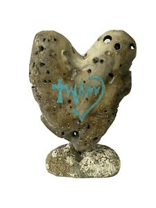Whalebone Fossil Sculpture, Heart With Faith Hope Love Turquoise Inlay