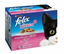 Felix Wet Kitten Food Mixed Selection in jelly 12 pouches x100g FREE UK DELIVERY