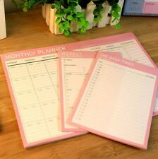 3 pcs Pink Monthly/Weekly/Daily Plan Journal Schedule Planner Note Paper #UK