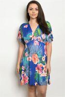 Womens Plus Size Royal Blue Floral Print Skater Dress 2XL Tropical Travel