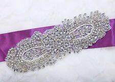 "8.3"" Vintage Style Grand Rhinestone Beaded Faux Pearl Wedding Bridal Applique"