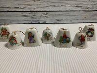 Lot 7 Vintage Ceramic Bells Christmas Tree Ornaments Japan