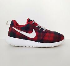 NIKE x PENDLETON Red Wool Plaid Check Trainers with LOVE YOU Embroidery UK5