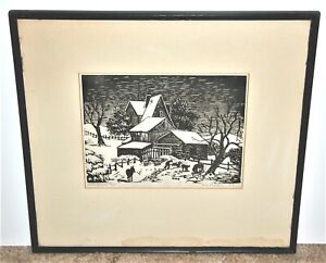 Sue Pettey Martin Oklahoma Artist Signed Blockprint of Winter Scene  WPA Period