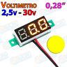 Mini Voltimetro 2,5v - 30v AMARILLO DC display 0,28 2 hilo digital voltmeter led