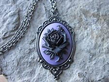 BLACK ROSE ON PURPLE CAMEO DARK SILVER NECKLACE, UNIQUE, GUN METAL, MOURNING