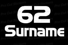 Rally Race Number & Names Surnames Stickers Decals - For Windows or Bodywork