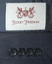 Mens 44 L Hickey Freeman Navy Blue Windowpane Wool Sport Jacket Slim Fit