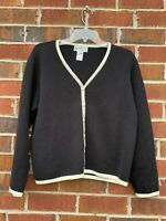 PENDLETON 100% Cotton CARDIGAN Black & White Women's Size Medium Sweater
