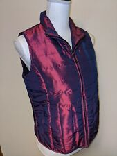 Woman's Relativity Metallic Purple Quilted Down Puffer Vest Coat Small