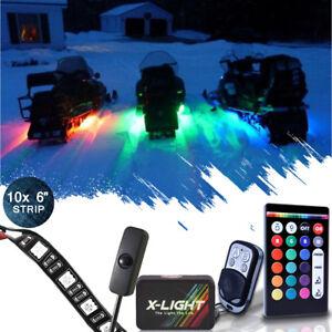 10pc 2017 LED Neon UnderGlow Lights Strip Kit Polaris Assault RMK800 Snowmobile
