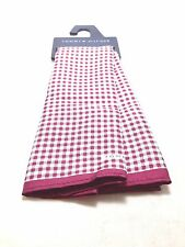 $125 Tommy Hilfiger Mens Red White Check Handkerchief Classic Silk Pocket Square