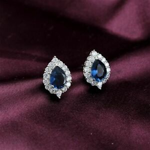 Elegant Designer Pear Blue Sapphire Stud Earrings 22 BLE 28