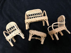 5 Vintage Wicker Dollhouse Doll Furniture-Barbie Sized Lot Chairs Table Loveseat