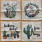 Succulent Cactus Watercolor Print Linen Canvas Pillow Covers 18 x 18 in Set of 4
