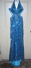 Beautiful STUDIO 17 PURE PROM ICE BLUE SEQUENCE BEAD Prom Party gown SZ 0