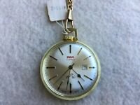 Swiss Made RCA 17 Jewels Mechanical Wind Up Vintage Pocket Watch with Chain