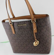 NEW AUTHENTIC MICHAEL KORS BROWN MORGAN MK SIGNATURE MD MEDIUM TOTE PVC HANDBAG
