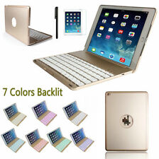 7 Colors Backlit Bluetooth Keyboard Folio Case Smart Cover for iPad Air 2 6 AU