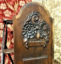 Art deco black patinated panel Antique french flower architectural salvage