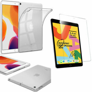"""For iPad 10.2"""" 9th Gen 2021 Soft Gel Silicone TPU Case Cover + Tempered Glass"""
